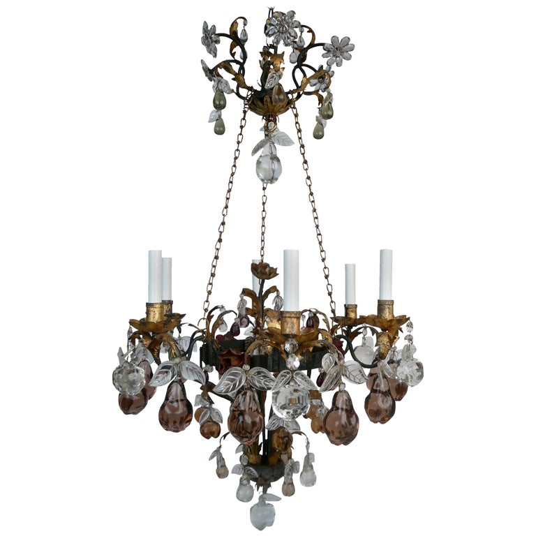 Early 20th Century French Bagues Style Wrought Iron and Crystal Chandelier