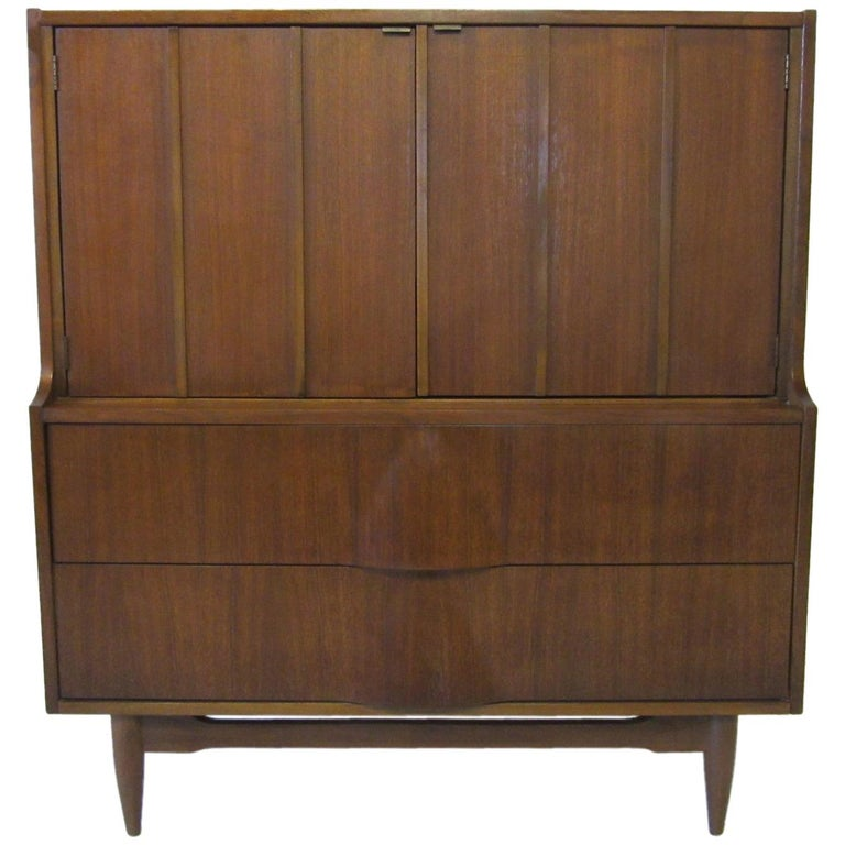 Walnut Midcentury Sculptural Tall Chest