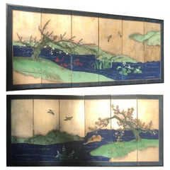 """Japanese Fine Antique Blue and Gold """"Bird & Flowers"""" Hand-Painted Screens, Pair"""