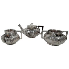 Gorham Japonesque Hand-Hammered Sterling Silver and Mixed Metal Tea Set