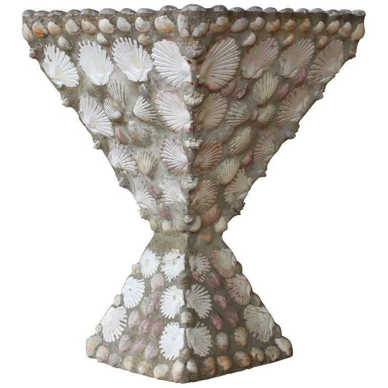 Concrete and Shell Planter, France, 1960s