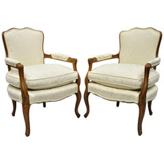 Country French Louis XV Style Fauteuil Armchairs White Down Filled Cushions Pair