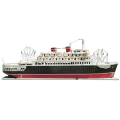 Monumental Folk Art Ocean Liner Hand Made Model