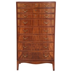 Ole Wanscher Rosewood Bowfront Chest of Drawers, circa 1940s