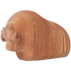 Arne Tjomsland Carved Wood Bison, circa 1960s