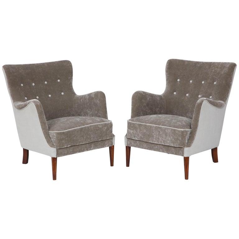 Pair of Danish Club Chairs, circa 1940s