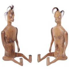 Two Primitive Carved Figures, Indonesian, circa 1900-1920