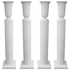Pair French Mid-Century Modern Plaster Column Floor Lamps Attr. Louis Sue, 1930
