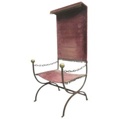 French Mid-Century Modern Iron Throne/ Lounge Chair, Style of Jean Royère, 1950