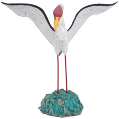 Painted Seagull Sculpture with Large Wingspan