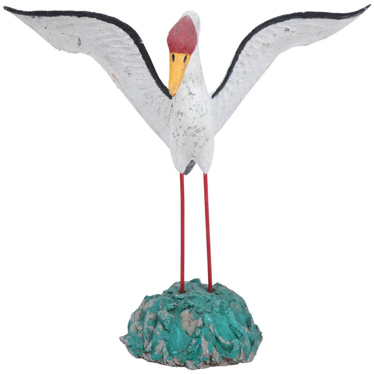 Painted Seagull Sculpture with Large Wingspan For Sale