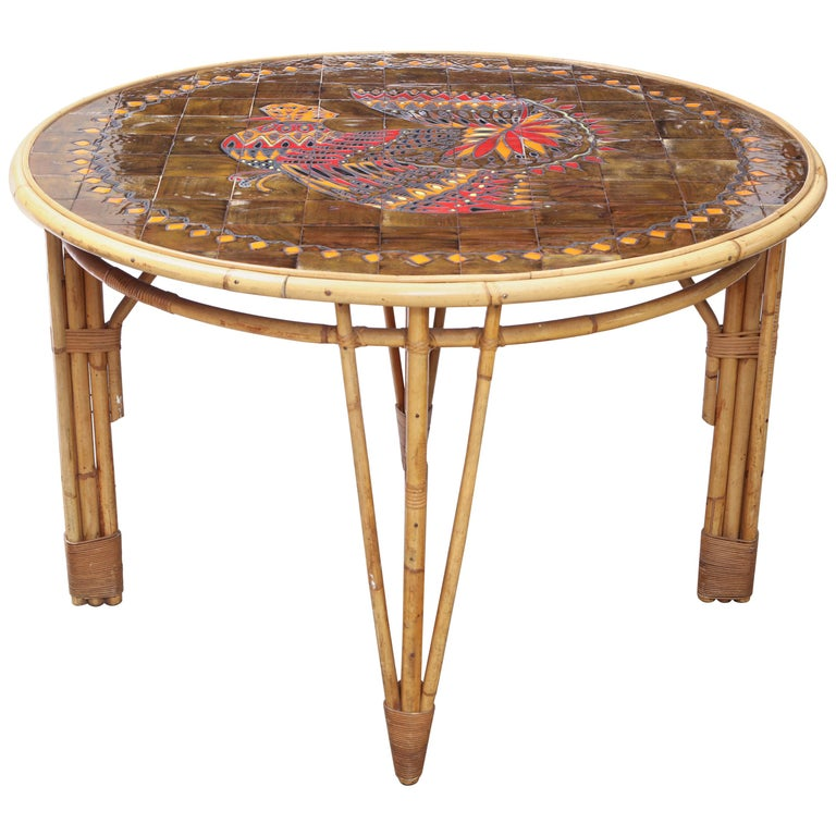 Rattan and Ceramic Tile Top Table For Sale
