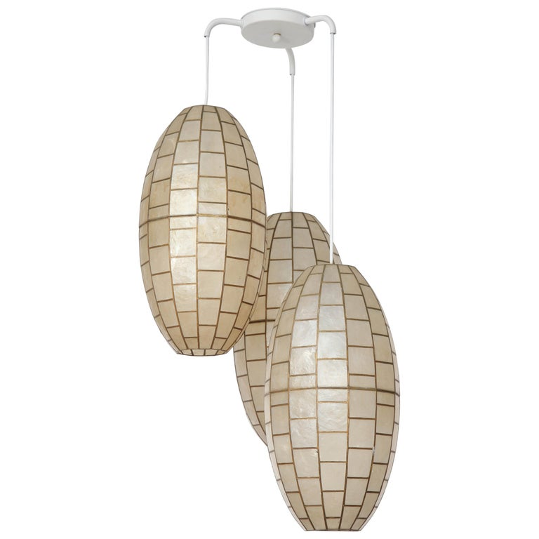 Translucent Shell and Metal Chandelier For Sale