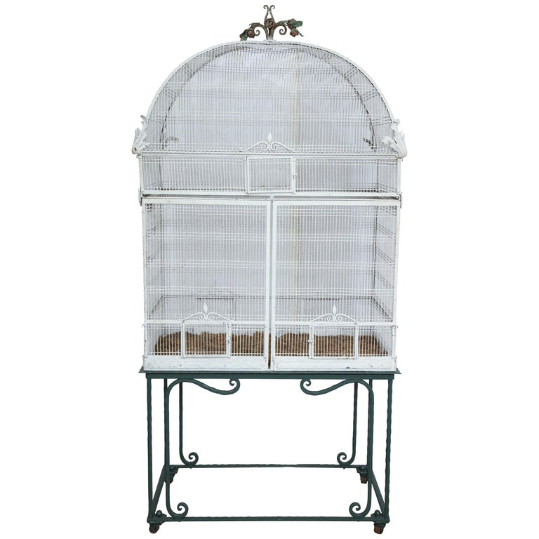 Painted White Metal Birdcage on Stand For Sale