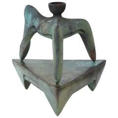 Richard Hirsch Bronze Tripod Vessel with Stand #1B, Skirted Series, 1991