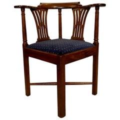 Antique English Mahogany Corner Chair, circa 1880