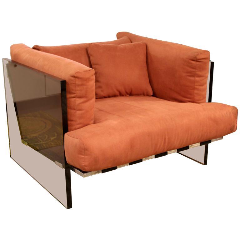 Mid-Century Modern Rare Milo Baughman Smoked Lucite Chrome Club Lounge Chair For Sale