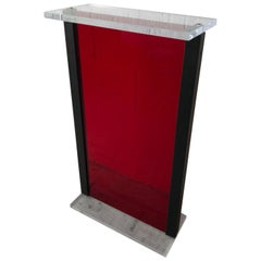Postmodern Red Lucite Pedestal Pedestal from the Versace Store in Miami Beach