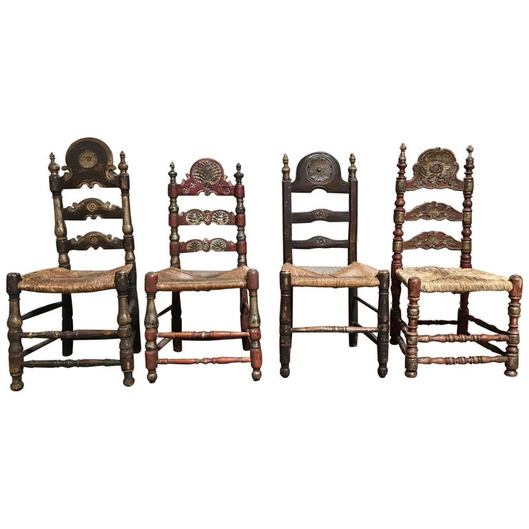 19th Century Painted Spanish Baroque Side Chairs, Set of Four For Sale