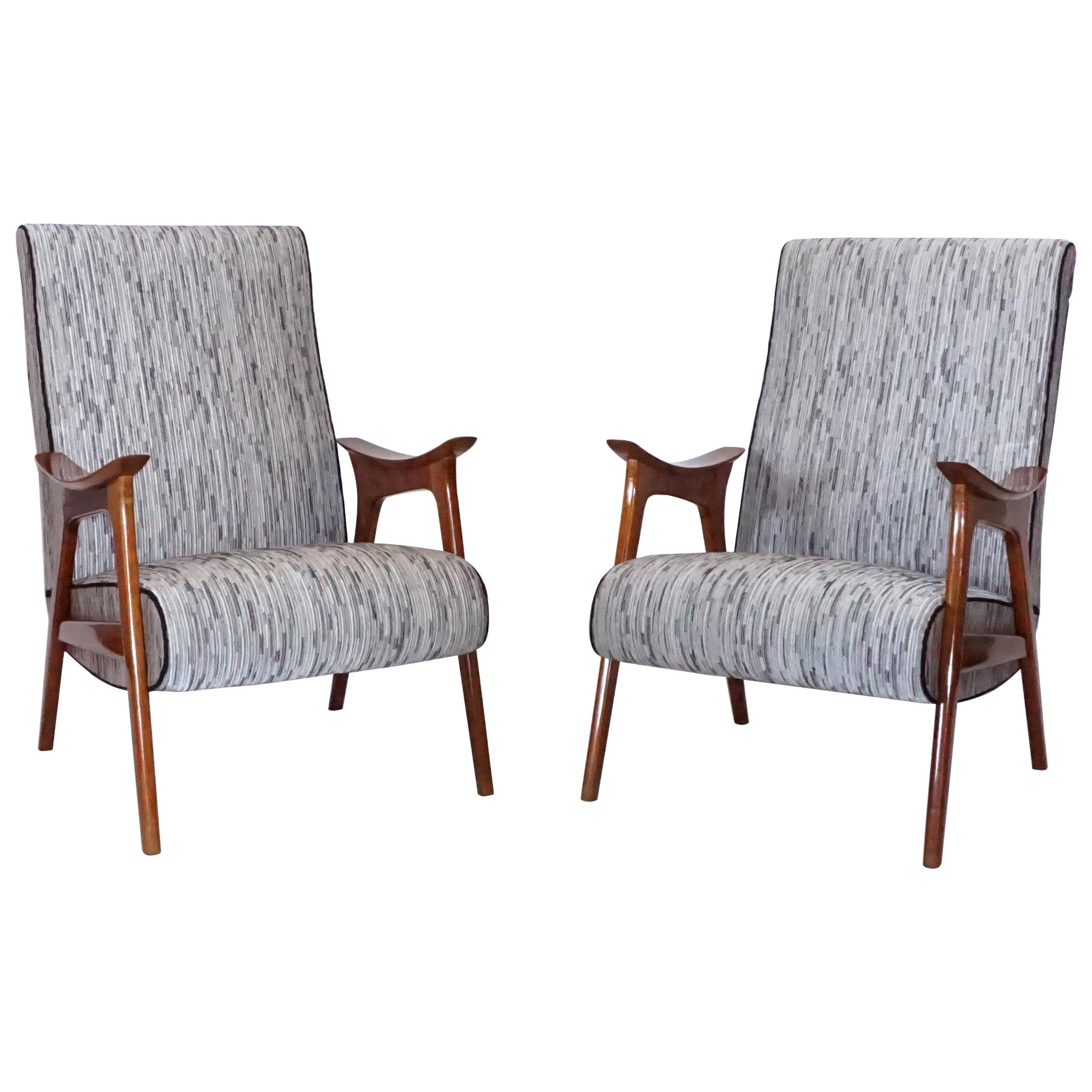 20th Century Grey Pair of Scandinavian Lounge Chairs, Danish Corner Chairs