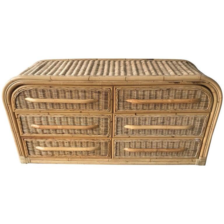 Postmodern Wicker and Bamboo Six-Drawer Dresser