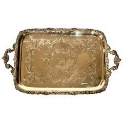 Antique English Edward Barnard & Sons Sterling Silver Platter, circa 1905