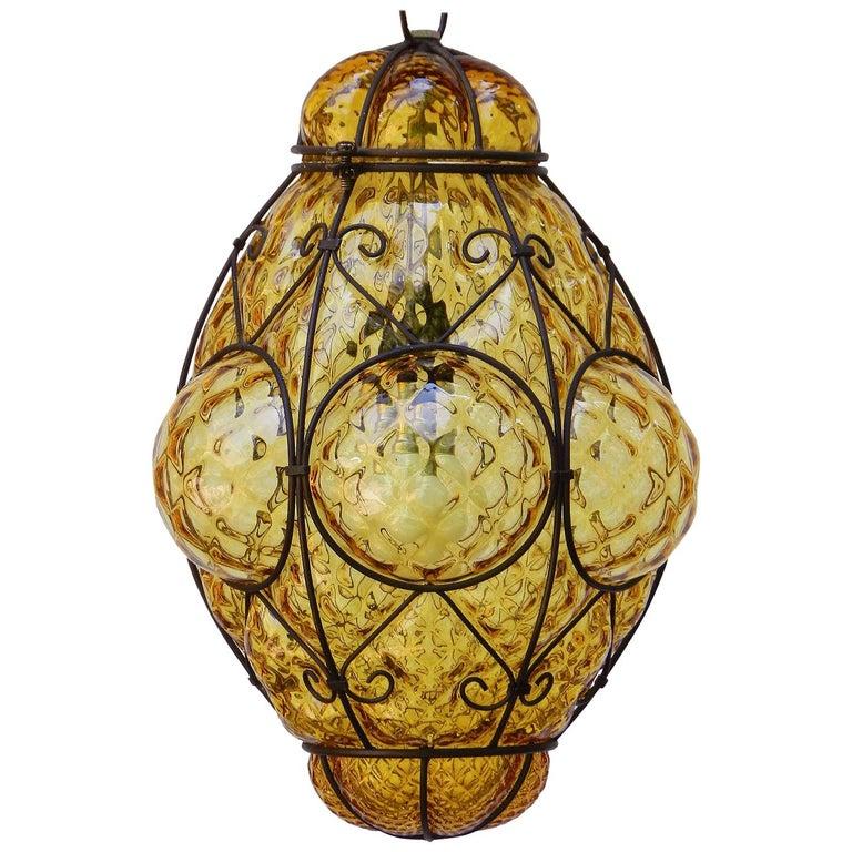 Seguso Murano Pendant Light Italian Vintage Handblown Amber Bubble Glass