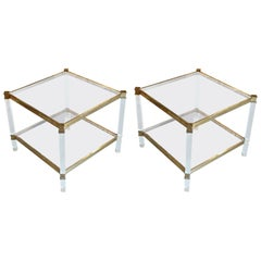 Pair of Square Lucite and Brass  Glass Top Two Tier Coffee Tables, France, 1960s