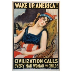 U.S. Vintage WWI Propaganda Poster 'Wake Up America' by James Montgomery Flagg