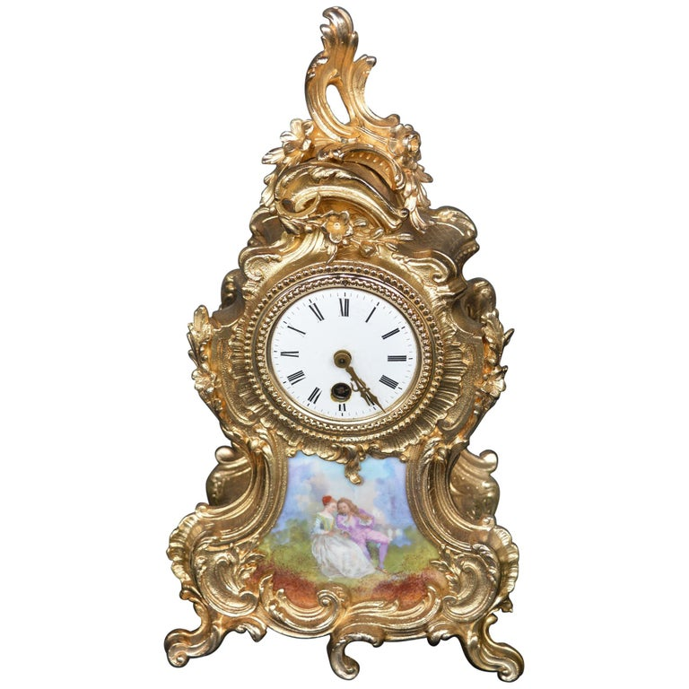 Ormolu and Hand-Painted Clock For Sale