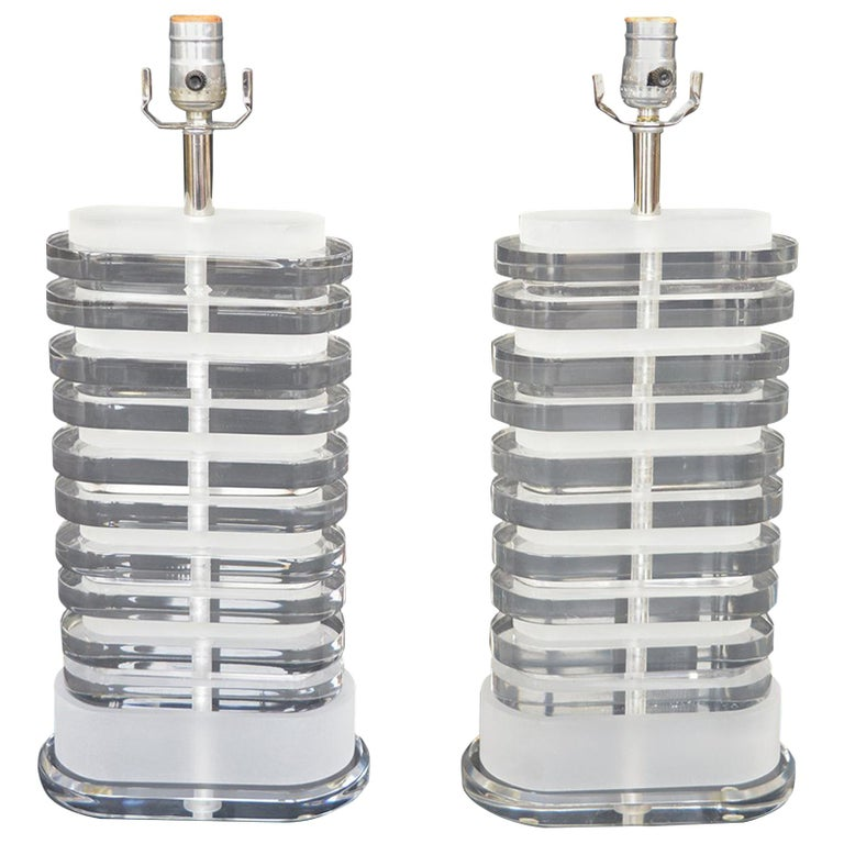 Pair of Stacked Lamps For Sale