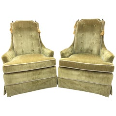 Hollywood Regency Green Crushed Velvet Chairs, a Pair
