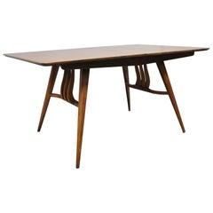 Mid-Century Modern Walnut Extension Dining Table Lyre American Martinsville Era