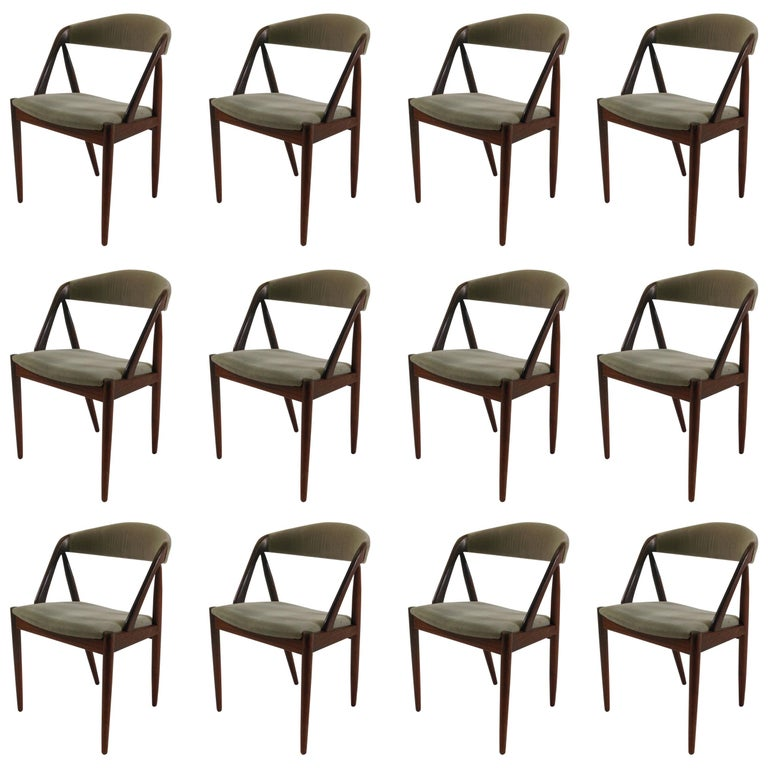 1960s Kai Kristiansen Set of Twelve Dining Chairs in Rosewood