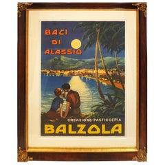 Italian Vintage Pastry Shop Poster for 'Balzola Baci Di Alassio', 1955