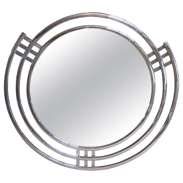 Art Deco Triple Band Chrome Wall Mirror For Sale
