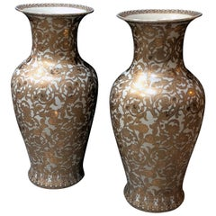 Massive & Well-Executed Pair of Chinese Palace Vases W Gilt Floral Decoration