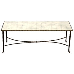 1970 Coffee Table Maison Charles, Top in Glass with Sheets of Gold