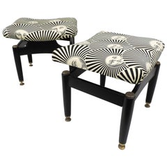 Fantastic Pair of 1950s Stools Upholstered with Vintage Fornasetti Fabrics