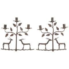American Folk Art Wrought Iron Candlesticks Depicting Deer
