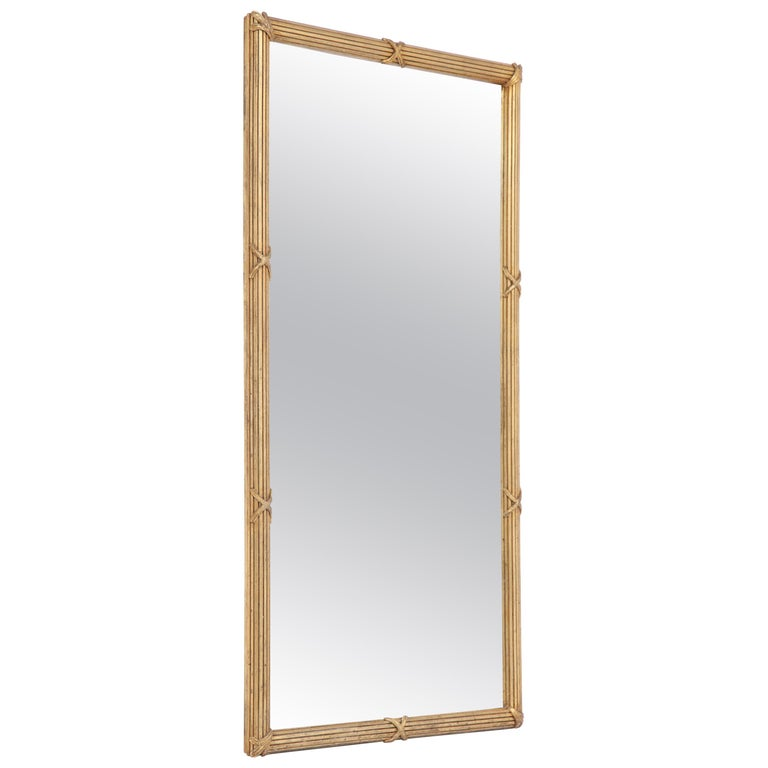 Midcentury Reeded Giltwood Mirror