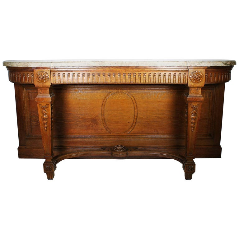 French 19th Century Louis XIV Style Carved Oak Console Buffet Server Marble Top