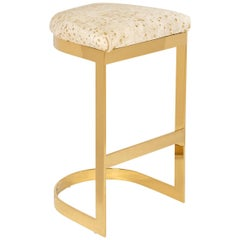 Modern Style Backless Counter or Bar Stool in Cowhide and Polished Brass Frame