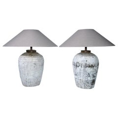 Large Chinese Storage Jar Lamps with Shades, Pair