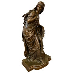Classical Maiden Bronze Sculpture by Mathurin Moreau