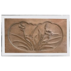 Mid-Century Modern Floral Caved Oak Relief Mounted on Acrylic Panel