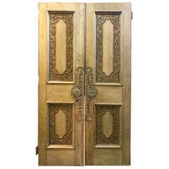 19th Century Pair of Continental Carved Oak Doors