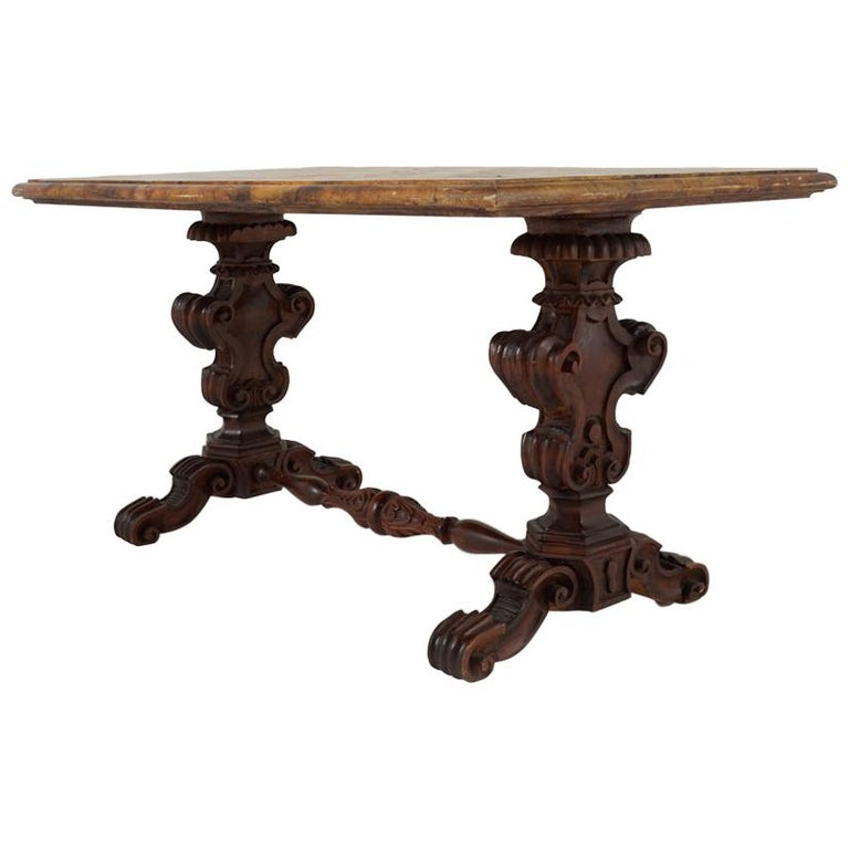 Italian Carved Walnut and Faux Marble Table
