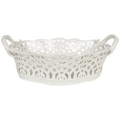 KPM White Antique Pierced Porcelain Basket