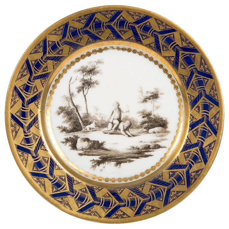 Antique French Porcelain Plate with Children Playing and a Cobalt Blue Border